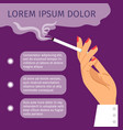 smoking girl hand with cigarette poster vector image