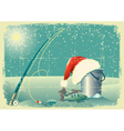 fishing in winter snow vector image vector image