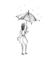 girl holding umbrella vector image vector image
