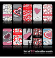 Set of ten valentine cards vector image