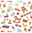 Colorful seamless pattern childish doodles vector image
