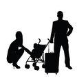 couple with baby and travel bag vector image