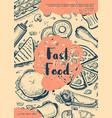 fast food retro restaurant menu cover vector image