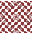 Spiral and square red seamless pattern vector image