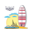 surfboard on the beach design vector image