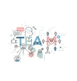 Thin line flat design banner for team word concept vector image