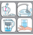 Icons used for filter jugs set vector image