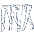 Drawing womens fashionable denim jeans outline vector image
