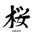 Kanji hieroglyph sakura vector image
