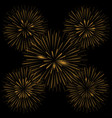 golden realistic fireworks vector image