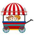 two babies on wagon vector image vector image