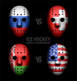 Vintage goalie masks with flags vector image