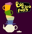 Set of colorful different tea cups pyramid vector image