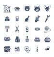 Cat care pet shop flat silhouettes icons vector image
