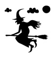 he scary witch flying on a broomstick vector image