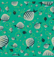 pattern with cute fish in green color vector image