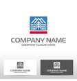 logo design with mountains and forest vector image vector image