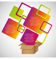 Colored rectangles out of cardboard boxes with spa vector image