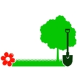 garden background with tree shovel grass and vector image