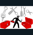 tool set repair work person objects icons vector image