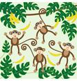 four cute cartoon monkeys vector image vector image