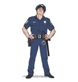 Smug policeman stands upright Blue uniform vector image