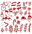Christmas Icons and Objects Collection Detailed vector image