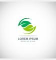 Circle green leaf organic logo vector image