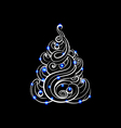 hand-drawn Christmas tree with glowing toys vector image