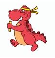 Running dinosaur cartoon T-shirt design vector image