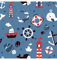 Seamless pattern with sea icons - abstract vector image