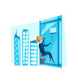 man cleaning washing windows on building vector image