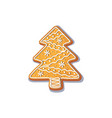 gingerbread christmas spruce tree cookie vector image