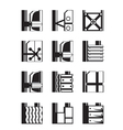 Suspended facades of buildings vector image
