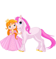 Cute Princess and Unicorn vector image