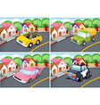 Four scenes of neighborhood with car on the road vector image