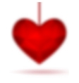Red diamond abstract heart isolated on a white vector image