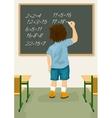 schoolboy solves arithmetical on blackboard vector image