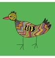 Doodle colorful bird on the green background vector image