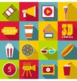 Movie items icons set flat style vector image