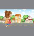 A girl walking across the neighborhood vector image