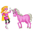 A female hero and a horse vector image vector image