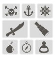monochrome icons with pirate stuff vector image