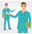 nurse man with stethoscope showing something vector image