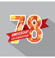 78th Years Anniversary Celebration Design vector image