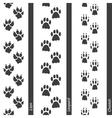 Animal footprints seamless border set vector image