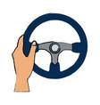 hand with steering wheel car auto control icon vector image