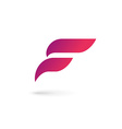 Letter F wing flag logo icon design template vector image