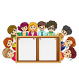 Man and woman around the wooden board vector image
