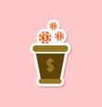 paper sticker on stylish background money bag vector image